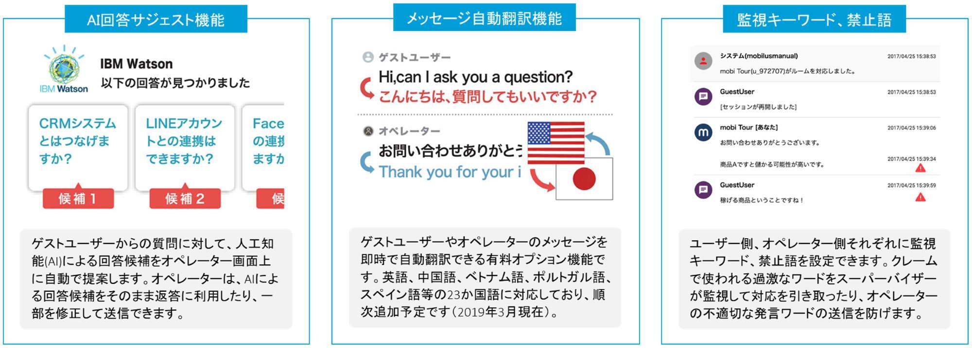 チャットサポートのオペレーター支援機能「AI回答サジェスト」「メッセージ自動翻訳」「監視キーワード・禁止語」